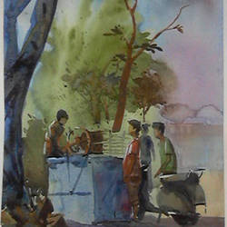 thirsty afternoon, 9 x 12 inch, arnab bhattacharjee,paintings,street art,paintings for living room,paintings for living room,canson paper,watercolor,9x12inch,GAL0890218159