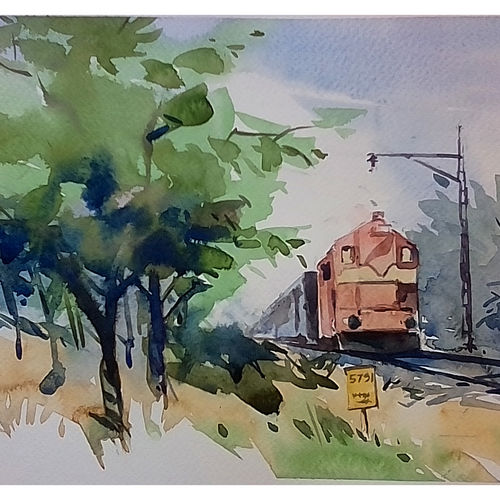 the train, 12 x 9 inch, arnab bhattacharjee,paintings,nature paintings,paintings for living room,paintings for living room,canson paper,watercolor,12x9inch,GAL0890218160Nature,environment,Beauty,scenery,greenery