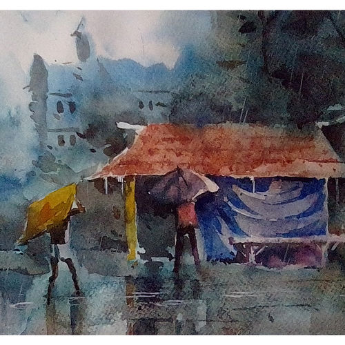 rain rain go away, 12 x 9 inch, arnab bhattacharjee,paintings,conceptual paintings,paintings for living room,canson paper,watercolor,12x9inch,GAL0890218162