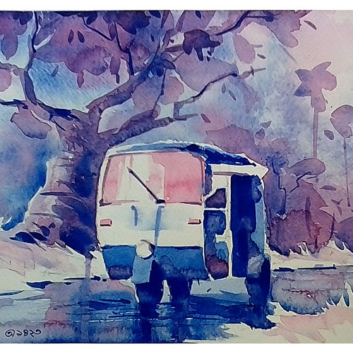 auto in rain, 12 x 9 inch, arnab bhattacharjee,paintings,cityscape paintings,paintings for living room,brustro watercolor paper,watercolor,12x9inch,GAL0890218163