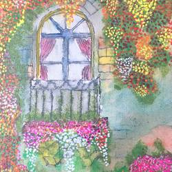 flower window , 7 x 9 inch, ashansh saroha,paintings,flower paintings,paintings for living room,paintings for kids room,paintings for hotel,paintings for kitchen,paintings for school,canvas,pen color,watercolor,7x9inch,GAL0890518167