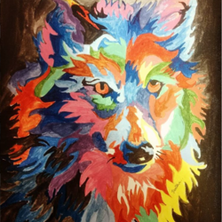 colourful wolf, 12 x 17 inch, muktevi lakshmi haritha,paintings,abstract paintings,paintings for dining room,paintings for living room,paintings for bedroom,paintings for dining room,paintings for living room,paintings for bedroom,canvas,acrylic color,12x17inch,GAL09318174