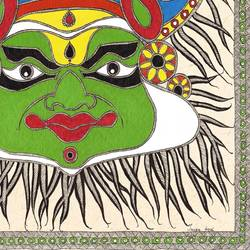 kathakali mask in madhubani , 21 x 29 inch, treesa joseph,paintings,folk art paintings,paintings for dining room,paintings for living room,paintings for hotel,handmade paper,acrylic color,21x29inch,GAL0888318178