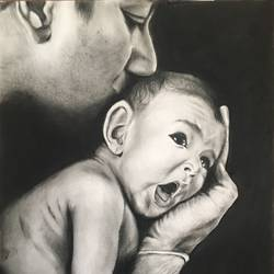 fatherhood, 12 x 16 inch, monisha  singhal,drawings,figurative drawings,portrait drawings,paper,charcoal,12x16inch,GAL0473818185