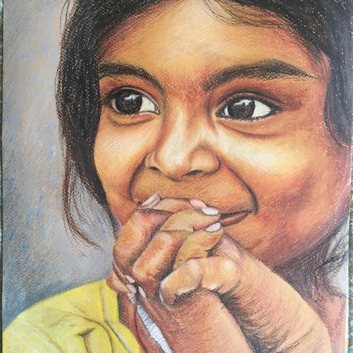 happiness, 12 x 14 inch, monisha  singhal,paintings,figurative paintings,portrait paintings,arches paper,pastel color,12x14inch,GAL0473818186