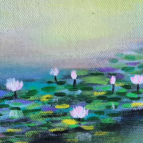 lotus art, 6 x 6 inch, amita dand,paintings,abstract paintings,flower paintings,nature paintings,paintings for dining room,paintings for living room,paintings for office,paintings for bathroom,paintings for hotel,canvas,acrylic color,pastel color,6x6inch,GAL0146718191Nature,environment,Beauty,scenery,greenery