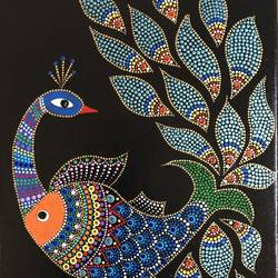 beautiful bird of life, 8 x 10 inch, gayathri nayak,madhubani paintings,paintings for dining room,paintings for living room,paintings for bedroom,paintings for office,paintings for hotel,paintings for kitchen,paintings for school,paintings for hospital,canvas,acrylic color,8x10inch,GAL0773518199