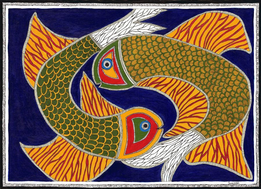 madhubani colourful  fishes, 29 x 21 inch, treesa joseph,paintings,folk art paintings,madhubani paintings,paintings for dining room,paintings for living room,paintings for bedroom,paintings for office,paintings for hotel,handmade paper,acrylic color,29x21inch,GAL0888318201