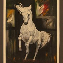 horse abstract, 18 x 24 inch, ayan chakrabarti,paintings,abstract paintings,horse paintings,hardboard,mixed media,oil,18x24inch,GAL0895818209