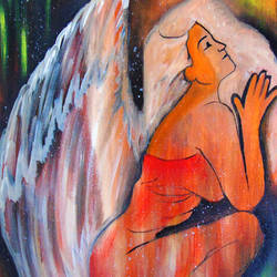 fallen angel's prayer, 14 x 18 inch, rijoy  emmanuel,paintings,abstract paintings,figurative paintings,conceptual paintings,paintings for dining room,paintings for living room,paintings for office,canvas,acrylic color,14x18inch,GAL0643118212