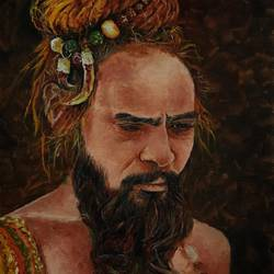 sadhu painting, 12 x 16 inch, chandrakesh  singh,paintings,figurative paintings,conceptual paintings,religious paintings,portrait paintings,art deco paintings,illustration paintings,realism paintings,realistic paintings,paintings for dining room,paintings for living room,paintings for bedroom,paintings for office,paintings for hotel,paintings for hospital,canvas,oil,12x16inch,GAL0705618217
