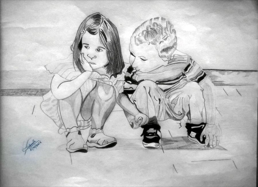 child love, 8 x 12 inch, subodh  kumar,abstract drawings,paintings for living room,paper,pencil color,8x12inch,GAL07311822