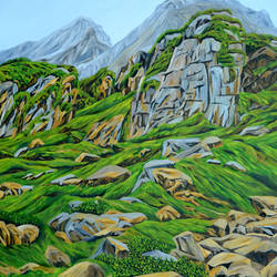 lofty rocks in himalayas, 33 x 47 inch, ajay harit,paintings,landscape paintings,nature paintings,realism paintings,realistic paintings,paintings for dining room,paintings for living room,paintings for bedroom,paintings for office,paintings for hotel,paintings for school,paintings for hospital,canvas,oil,33x47inch,GAL0199818221Nature,environment,Beauty,scenery,greenery