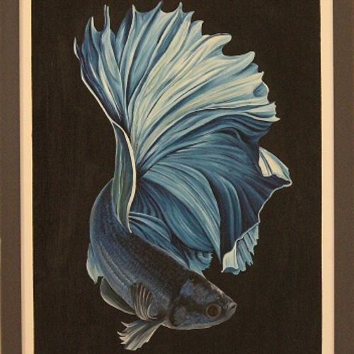 full moon betta blue black, 18 x 24 inch, ayan chakrabarti,paintings,abstract paintings,figurative paintings,modern art paintings,conceptual paintings,nature paintings,illustration paintings,photorealism,portraiture,realism paintings,hardboard,mixed media,oil,18x24inch,GAL0895818228Nature,environment,Beauty,scenery,greenery