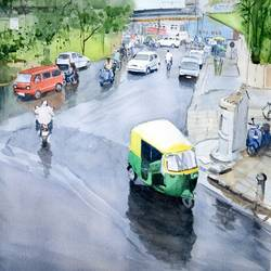 a rainy day, 14 x 21 inch, ramesh jhawar,paintings,cityscape paintings,landscape paintings,realism paintings,paintings for living room,paintings for office,paintings for hotel,paintings for living room,paintings for office,paintings for hotel,thick paper,watercolor,14x21inch,GAL0897018231
