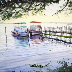 boats by the pier, 21 x 14 inch, ramesh jhawar,paintings,landscape paintings,nature paintings,realism paintings,realistic paintings,paintings for living room,paintings for bedroom,paintings for office,paintings for hotel,paper,watercolor,21x14inch,GAL0897018233Nature,environment,Beauty,scenery,greenery