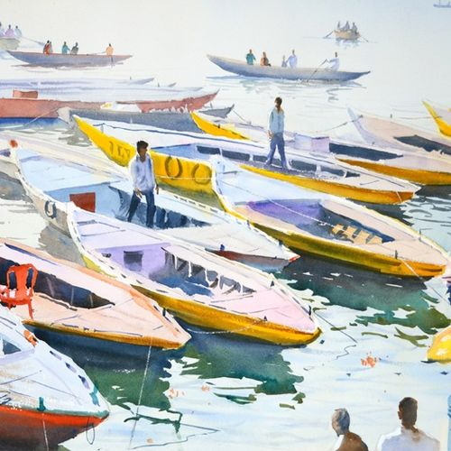 gearing up for the day in varanasi, 21 x 14 inch, ramesh jhawar,paintings,landscape paintings,nature paintings,realism paintings,realistic paintings,paintings for living room,paintings for bedroom,paintings for office,paintings for hotel,paper,watercolor,21x14inch,GAL0897018237Nature,environment,Beauty,scenery,greenery