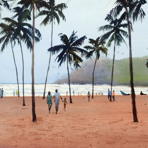 goa series - baga beach # 1, 14 x 10 inch, ramesh jhawar,paintings,landscape paintings,nature paintings,realism paintings,realistic paintings,paintings for dining room,paintings for living room,paintings for bedroom,paintings for office,paintings for hotel,arches paper,watercolor,14x10inch,GAL0897018238Nature,environment,Beauty,scenery,greenery