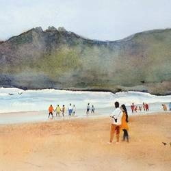 goa series - baga beach # 2, 21 x 9 inch, ramesh jhawar,paintings,landscape paintings,nature paintings,realism paintings,realistic paintings,paintings for living room,paintings for bedroom,paintings for office,paintings for hotel,paintings for living room,paintings for bedroom,paintings for office,paintings for hotel,fabriano sheet,watercolor,21x9inch,GAL0897018239Nature,environment,Beauty,scenery,greenery