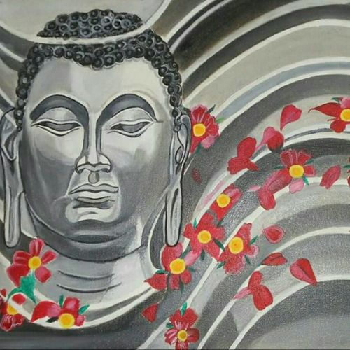 lord buddha - black and white, 24 x 16 inch, freni doshi,paintings for office,buddha paintings,canvas,oil,24x16inch,religious,peace,meditation,meditating,gautam,goutam,buddha,grey,face,flowers,leafs,GAL06111824
