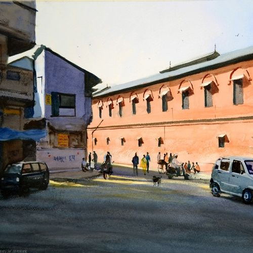 the red building, ahmedabad, 21 x 14 inch, ramesh jhawar,paintings,cityscape paintings,landscape paintings,realism paintings,street art,realistic paintings,paintings for living room,paintings for bedroom,paintings for office,paintings for hotel,fabriano sheet,watercolor,21x14inch,GAL0897018240