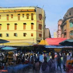 market crowd, 14 x 10 inch, ramesh jhawar,paintings,cityscape paintings,landscape paintings,realism paintings,street art,contemporary paintings,realistic paintings,paintings for dining room,paintings for living room,paintings for office,paintings for hotel,paper,watercolor,14x10inch,GAL0897018241