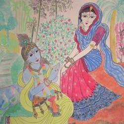 radha krishna - mana bhanjana, 22 x 28 inch, madhusmita choudhury,paintings,radha krishna paintings,paintings for dining room,paintings for living room,paintings for bedroom,paintings for hotel,thick paper,watercolor,22x28inch,GAL0670918258,radhakrishna,love,pece,lordkrishna,,lordradha,peace,flute,music,radha,krishna,devotion,couple