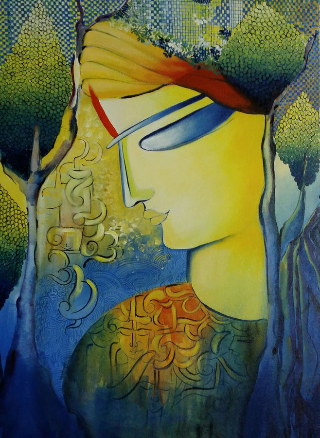 i am krishna, i am unconditional love, 18 x 24 inch, nitu chhajer,paintings for living room,radha krishna paintings,canvas,acrylic color,18x24inch,GAL05821826,radha,krishna,love,lord,lordkrishna,lordradha,radhakrishna