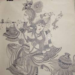 radha  krishna, 22 x 28 inch, madhusmita choudhury,paintings,radha krishna paintings,paintings for dining room,paintings for living room,paintings for bedroom,paintings for office,paintings for hotel,thick paper,pen color,22x28inch,GAL0670918260,radhakrishna,love,pece,lordkrishna,,lordradha,peace,flute,music,radha,krishna,devotion,couple