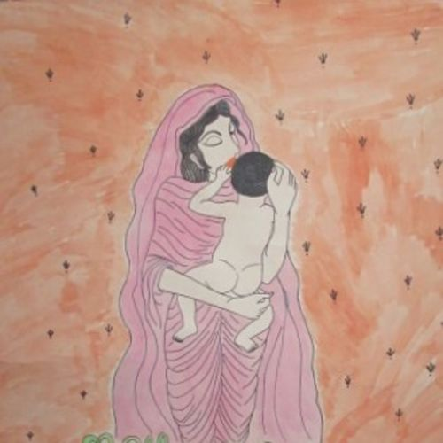 mothor god's, 22 x 28 inch, madhusmita choudhury,paintings,modern art paintings,paintings for dining room,paintings for living room,thick paper,watercolor,22x28inch,GAL0670918261