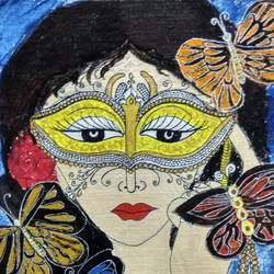 beauty in mask, 10 x 12 inch, madhusmita choudhury,paintings,modern art paintings,conceptual paintings,paintings for dining room,paintings for living room,paintings for bedroom,paintings for office,paintings for kids room,paintings for hotel,canvas,acrylic color,10x12inch,GAL0670918265