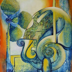 ganesha, 20 x 24 inch, nitu chhajer,abstract paintings,paintings for living room,canvas,acrylic color,20x24inch,GAL05821827