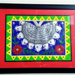 fish, 14 x 10 inch, geeta kwatra,paintings,madhubani paintings,drawing paper,acrylic color,14x10inch,GAL0899118272