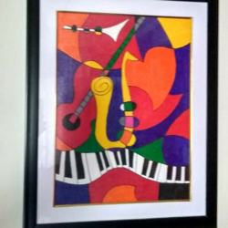 musical instruments, 12 x 16 inch, geeta kwatra,paintings,abstract paintings,canvas,acrylic color,12x16inch,GAL0899118273