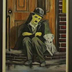 chaplin the expressionist, 18 x 24 inch, ayan chakrabarti,paintings,figurative paintings,portrait paintings,expressionist paintings,impressionist paintings,photorealism,realism paintings,hardboard,oil,18x24inch,GAL0895818278