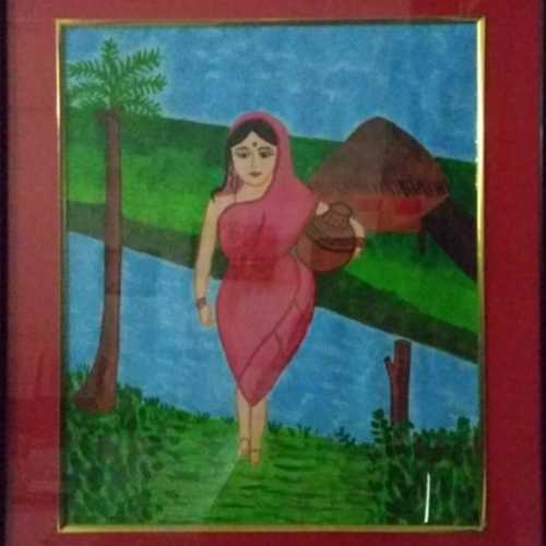 village girl, 10 x 12 inch, geeta kwatra,paintings,landscape paintings,drawing paper,watercolor,10x12inch,GAL0899118279