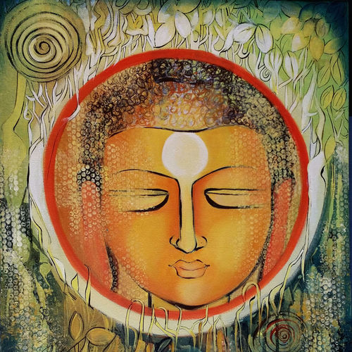 peaceful buddha, 20 x 24 inch, nitu chhajer,abstract paintings,paintings for living room,canvas,acrylic color,20x24inch,GAL05821828