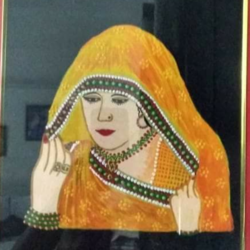 woman in ghunghat, 10 x 12 inch, geeta kwatra,paintings,figurative paintings,canvas,acrylic color,10x12inch,GAL0899118283