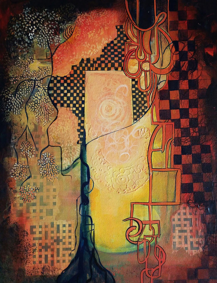abstract, 16 x 20 inch, nitu chhajer,abstract paintings,paintings for dining room,canvas,acrylic color,16x20inch,GAL05821829