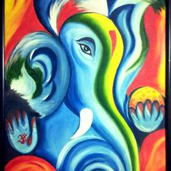 """shri ganesha"" in vibrant colours (framed), 25 x 37 inch, shobhika rohatgi,paintings,ganesha paintings,paintings for dining room,paintings for living room,paintings for bedroom,paintings for office,paintings for hotel,paintings for kitchen,paintings for school,paintings for hospital,canvas,oil,25x37inch,GAL0903618296,vinayak,ekadanta,ganpati,lambodar,peace,devotion,religious,lord ganesha,lordganpati,ganpati bappa morya,ganesh chaturthi,ganesh murti,elephant god,religious,lord ganesh,ganesha,om,hindu god,shiv parvati, putra,bhakti,blessings,aashirwad,pooja,puja,aarti,ekdant,vakratunda,lambodara,bhalchandra,gajanan,vinayak,prathamesh,vignesh,heramba,siddhivinayak,mahaganpati,omkar,mushak,mouse,ladoo,modak,shlok"