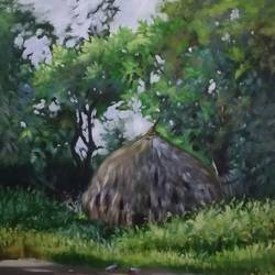 hut in village near vrindavan. , 19 x 27 inch, kunal pal,paintings,abstract paintings,cityscape paintings,landscape paintings,modern art paintings,nature paintings,abstract expressionist paintings,art deco paintings,expressionist paintings,impressionist paintings,paintings for dining room,paintings for living room,paintings for bedroom,paintings for office,paintings for bathroom,paintings for kids room,paintings for hotel,paintings for kitchen,paintings for school,canvas,oil,19x27inch,GAL0905418306Nature,environment,Beauty,scenery,greenery