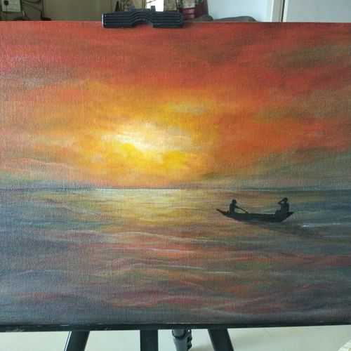 break of dawn, 12 x 16 inch, reji  r,paintings,landscape paintings,canvas board,acrylic color,12x16inch,GAL0899218307