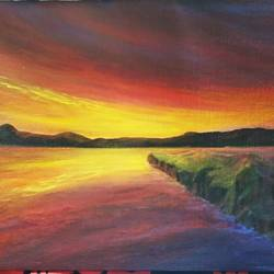 quiet flows the river, 12 x 16 inch, reji  r,paintings,landscape paintings,canvas board,acrylic color,12x16inch,GAL0899218310