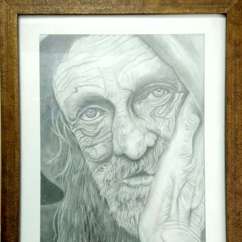 """'the wise old man"""" sketch made with different shades by pencil , protected with glass (framed), 15 x 19 inch, shobhika rohatgi,drawings,abstract expressionist drawings,conceptual drawings,dada drawings,expressionist drawings,portrait drawings,paintings for dining room,paintings for living room,paintings for bedroom,paintings for office,paintings for hotel,paintings for kitchen,paintings for school,ivory sheet,graphite pencil,15x19inch,GAL0903618312"""