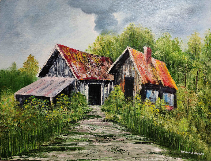 old house, 24 x 18 inch, yaz ahmed ansari,paintings,cityscape paintings,landscape paintings,nature paintings,canvas,oil,24x18inch,GAL0426118313Nature,environment,Beauty,scenery,greenery