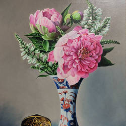 vase with flower, 18 x 24 inch, yaz ahmed ansari,paintings,flower paintings,canvas,oil,18x24inch,GAL0426118315