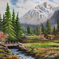 beautiful landscape, 24 x 18 inch, yaz ahmed ansari,paintings,landscape paintings,nature paintings,canvas,oil,24x18inch,GAL0426118316Nature,environment,Beauty,scenery,greenery