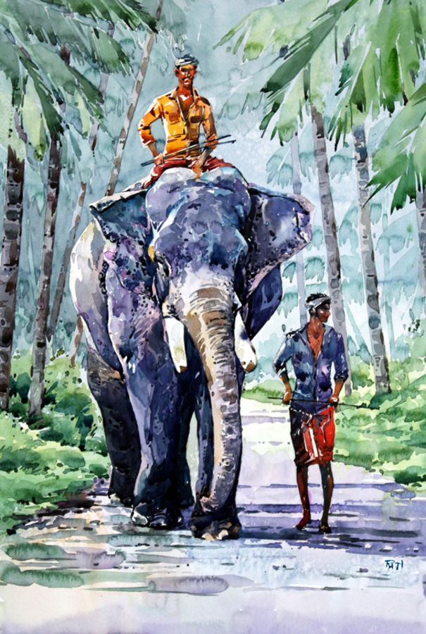 elephant walk, 15 x 21 inch, raji p,figurative paintings,landscape paintings,nature paintings,animal paintings,elephant paintings,figurative drawings,paintings for dining room,paintings for living room,paintings for bedroom,paintings for office,paintings for kids room,paintings for hotel,paintings for kitchen,paintings for school,paintings for hospital,canson paper,watercolor,15x21inch,GAL059018319Nature,environment,Beauty,scenery,greenery,tree,elephant,trees,tusks