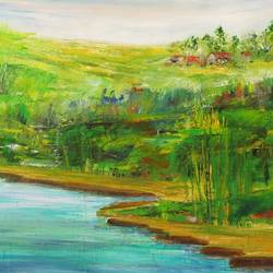 abstract landscape , 27 x 27 inch, neelam  sharma,paintings,abstract paintings,paintings for living room,canvas,acrylic color,27x27inch,GAL0883618326