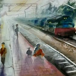 railway platform in morning., 18 x 12 inch, kunal pal,paintings,abstract paintings,figurative paintings,cityscape paintings,landscape paintings,modern art paintings,nature paintings,abstract expressionist paintings,art deco paintings,expressionist paintings,impressionist paintings,pop art paintings,street art,paintings for dining room,paintings for living room,paintings for bedroom,paintings for office,paintings for bathroom,paintings for kids room,paintings for hotel,paintings for kitchen,paintings for school,paintings for hospital,canson paper,watercolor,18x12inch,GAL0905418329Nature,environment,Beauty,scenery,greenery